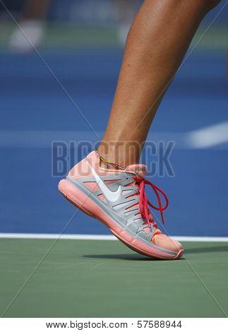 Two times Grand Slam champion Victoria Azarenka wears custom Nike tennis shoes during US Open 2013