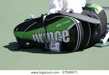 Bob Bryan tennis bag at USTA Billie Jean King National Tennis Center during US Open 2013