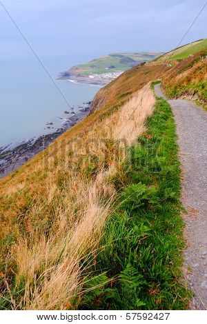 Path Along The Coast Of Wales. Portrait Format
