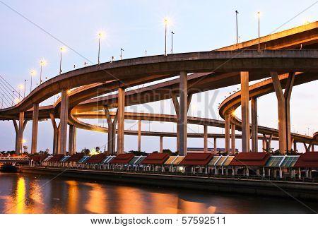 Bhumibol Bridge Under Twilight, Bangkok, Thailand