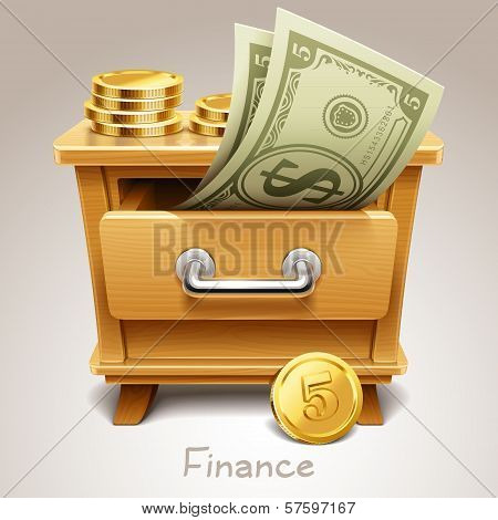 Wooden drawer illustration for finance icon