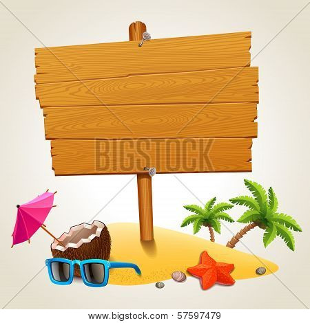 Wood sign in the beach icon