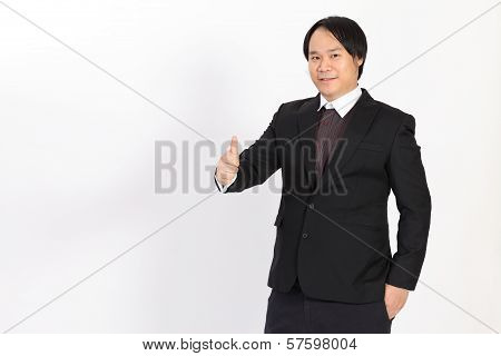 Isolated Business Man Holding His Thumbs Up