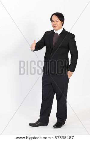 Portrait Business Man Holding His Thumbs Up Overwhite Background