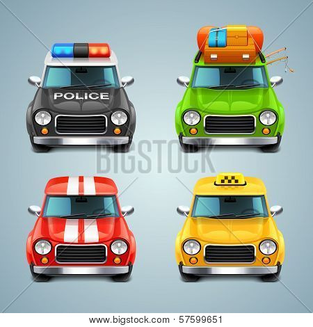 vector car icon set