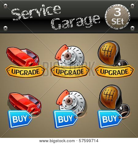 Upgrade and buy parts icons for race game-set 3