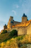 Medieval Town Of Carcassonne At Sunset poster
