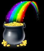 stock photo of end rainbow  - A cauldron or a pot full of gold coins at the end of the rainbow - JPG