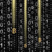 stock photo of bitcoin  - symbol of bitcoin on digital background   - JPG