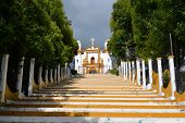 stock photo of luminaria  - A Christian Catholic chapel on a hill with colorful steps in San Cristobal de las Casas Chiapas Mexico - JPG