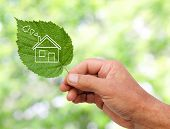 picture of reprocess  - Eco house concept hand holding eco house icon in nature - JPG