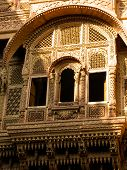 stock photo of rajasthani  - Engraved window of a rajasthani haveli  - JPG