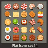 image of bread rolls  - vector flat icon - JPG