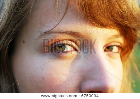 Women Green Eyes In Warm Sun Watching Right