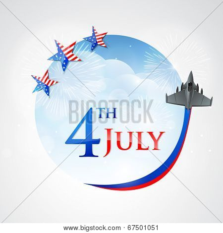 Stylish sticky design with stars and fighter plane on blue background for 4th of July, American Independence Day celebrations.
