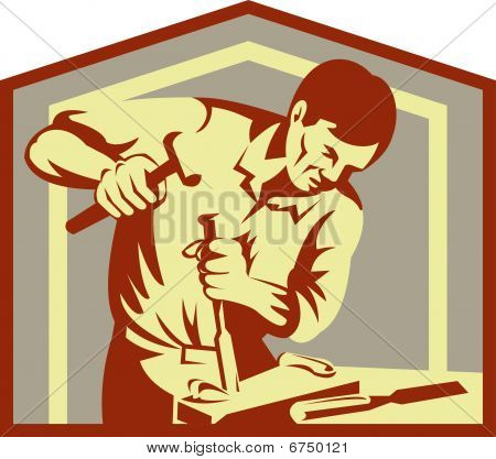 carpenter at work chiseling