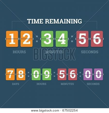 Countdown Mechanical Clock On Digits Board Panel In Flat Style With Different Colors. Vector Illustr