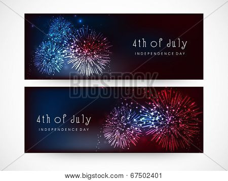 Website header or banner design for 4th of July, American Independence Day celebrations.