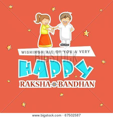 Beautiful greeting card design with stylish text Happy Raksha Bandhan with illustration of cute little girl tying rakhi on her brother hand on stars decorated orange background.