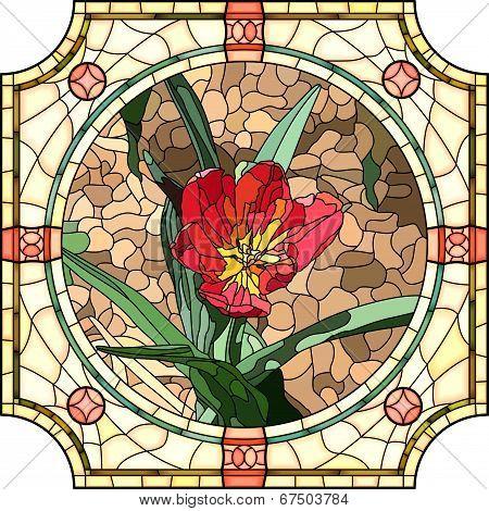 Vector Illustration Of Flower Red Tulip.