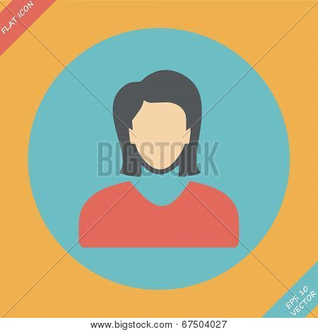 Vector icon of woman - vector illustration.