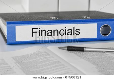 A blue folder with the label Financials