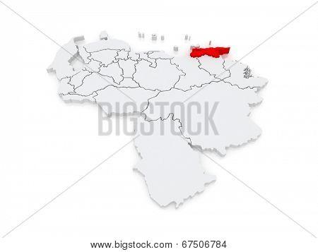 Map of Sucre. Venezuela. 3d