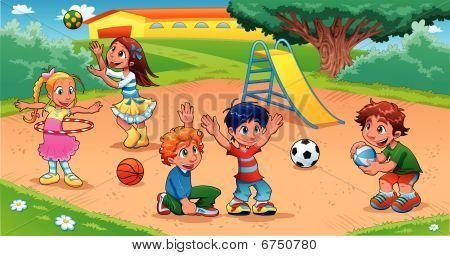 Kid_playground.epsKids en el patio de recreo.