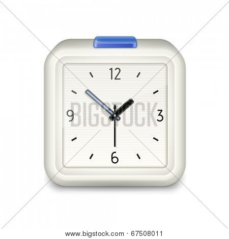 Square alarm clock with blue button on white background. Vector illustration