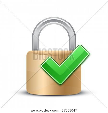 Complete protection sign. Security Concept. Vector illustration of padlock and green check mark