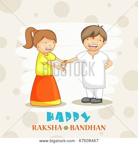 Beautiful illustration of cute little girl tying rakhi on her brother hand on abstract brown background.