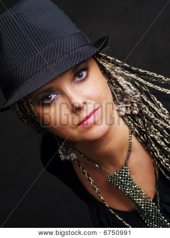 Party Woman With Braids In Hat