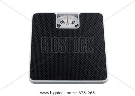White Analog Bathroom Scale Isolated On White