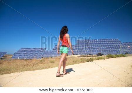 Side Walking At Solar Power Plant