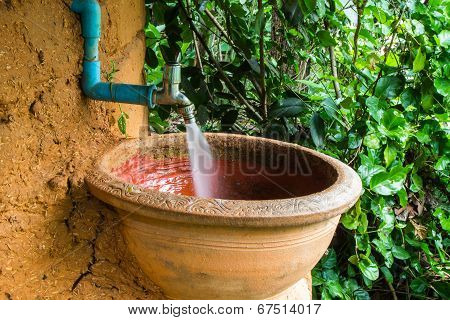 Antique Pot Use For Lavatory In Garden