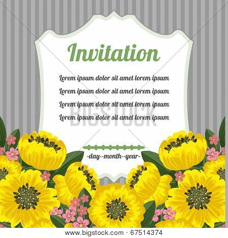 Retro Invitation With Yellow Flowers