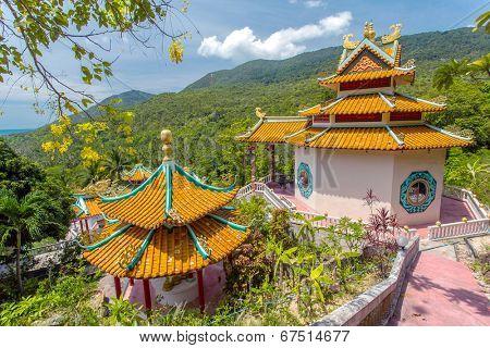 Kuan yin, chinese temple overlooking Chaloklum Bay at Koh Phangan, Thailand