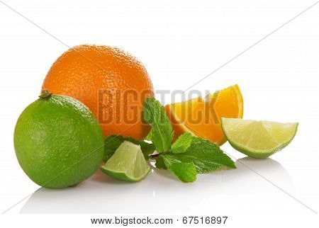 Orange, lime and orange slices, spearmint