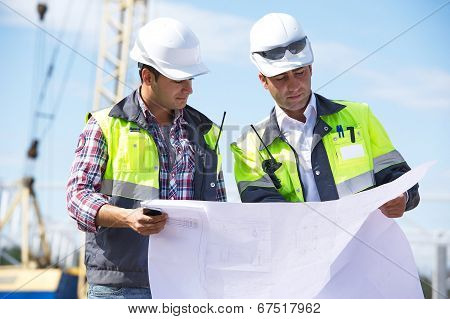 Two Engineers At Construction Site poster
