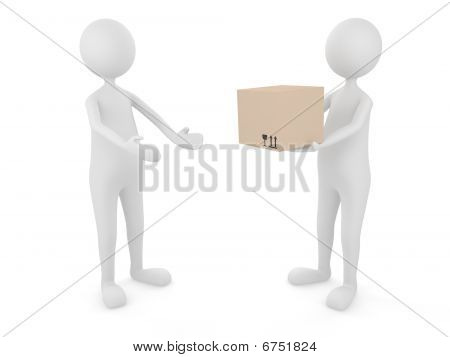 Man delivering cardboard box to a client