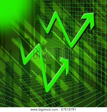 Green Arrows Background Means Increased Profit Or Sales.