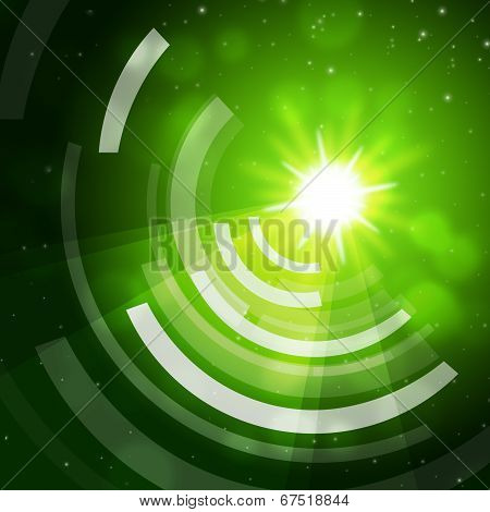 Green Sun Background Means Giving Offf Frequencies.