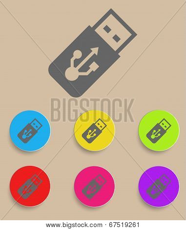 USB Flash drive vector icon with color variations