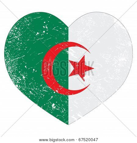 Algeria retro heart shaped flag