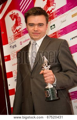 MOSCOW - JUNE, 28: Polish director Jan Matuszynski (Winner best documentary Film). 36st Moscow International Film Festival. Closing Ceremony at Rossiya Cinema . June 28, 2014 in Moscow, Russia