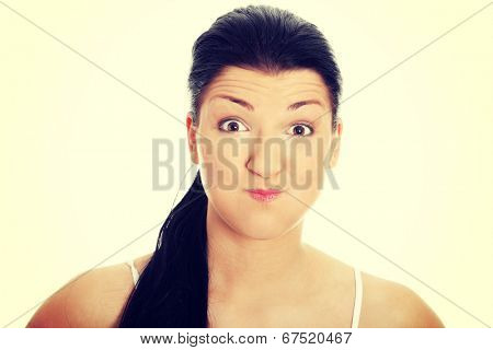 Young woman with bad hiccup
