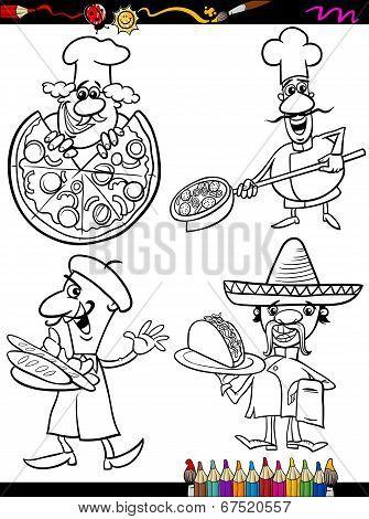 Cook Chefs Set Cartoon Coloring Book