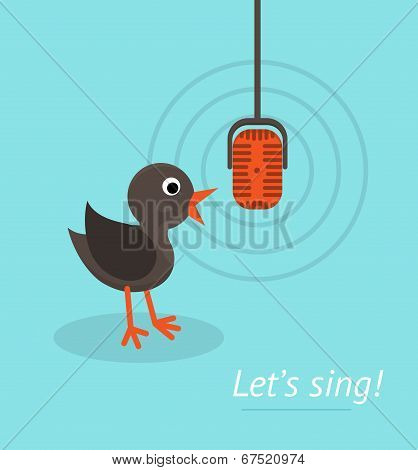 Music Concept With Microphone And Singing Bird. Banner For Karaoke, Parties, Music Lessons And Etc.