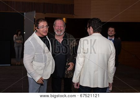 MOSCOW - JUNE, 14: American director Terry Gilliam and D.Dibrov. Premiere of the movie The Zero Theorem at at the Barvikha Village. June 14, 2014 in Moscow, Russia
