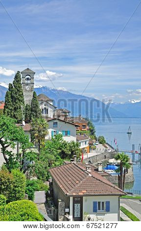 View of Brissago at Lake Maggiore
